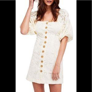 NWT Free People Cream Daniella Dress, Size 8